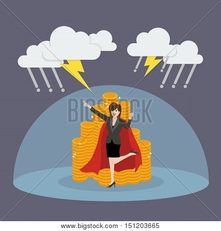 Super woman with barrier protecting her money from thunderstorm. Vector Illustration