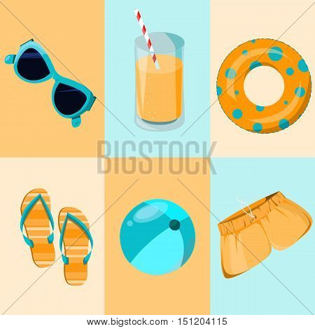 Colorful set of holidays icon. Funny summer time.