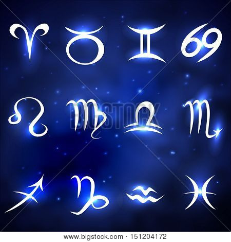 Shiny zodiac signs of blue space background with stars