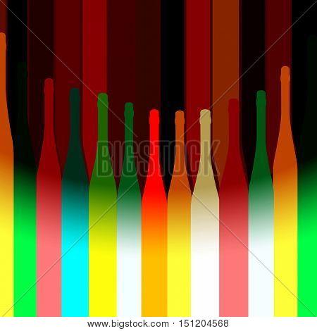 Background Bottle Ilustration.Alcoholic Bar Menu.Design for Party.Template for Menu Card.Wine List Placard.Suitable for Poster.