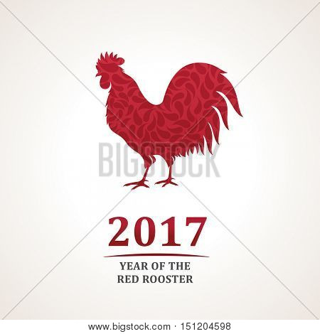 Vector red rooster, the symbol of 2017. The emblem of the New Year according to the Chinese calendar. Stylized icon of a red rooster for logo design. Image of east symbol zodiac