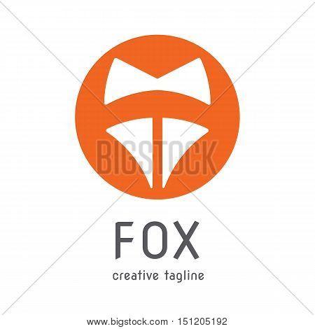 orange fox head symbol creative company logo vector design