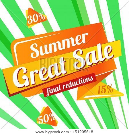 Web Banner Great sale summer. Vector summer background for Your discount. paper bright banner - Great sale summer, final reduction -on green background. Up to 50 off.