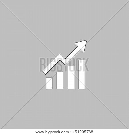 graphic Simple line vector button. Thin line illustration icon. White outline symbol on grey background