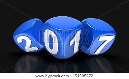 3D Illustration. Dices with  2017. Image with clipping path.
