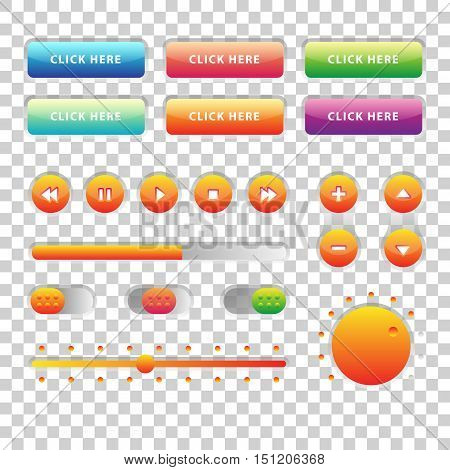 Web UI UX Music Elements Design set: Buttons, Switchers, Slider, loader on transparent background. Audio bar interface. Player buttons. Ui Ux music interface. Cicrle style buttons. Music controls