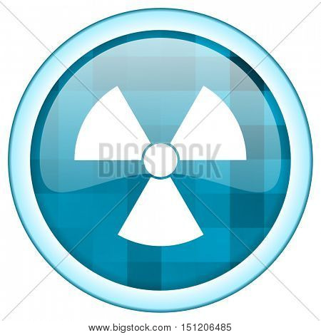 Blue circle vector radiation icon. Round internet glossy radioactive button. Web design graphic element.