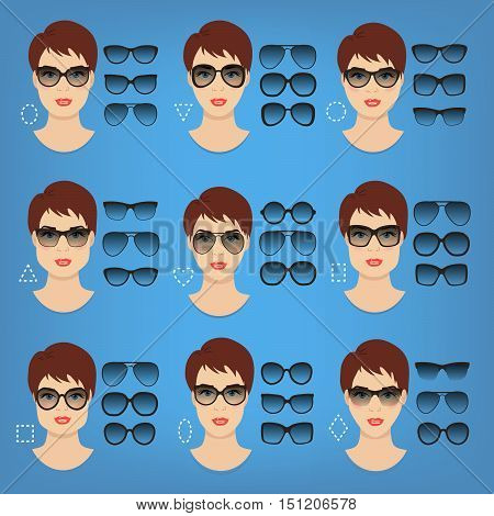 Woman sunglasses shapes for different women face types - square, triangle, circle, oval, diamond, long, heart, rectangle. Vector icon set. All glasses with translucent glass.
