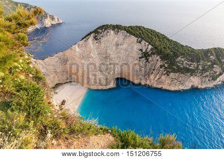 Amazing Panorama of Navagio Shipwreck beach, Zakynthos, Greece