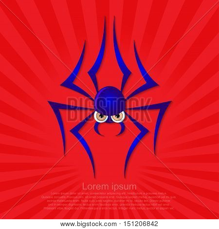Spider graphic on a red background. Eps10