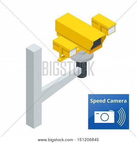 Isometric speed control radar camera, isolated on white background.