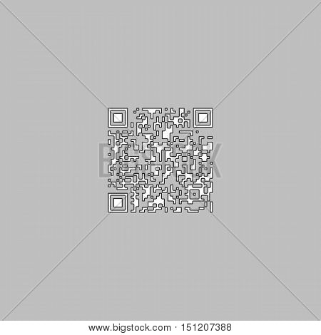 Qr code Simple line vector button. Thin line illustration icon. White outline symbol on grey background