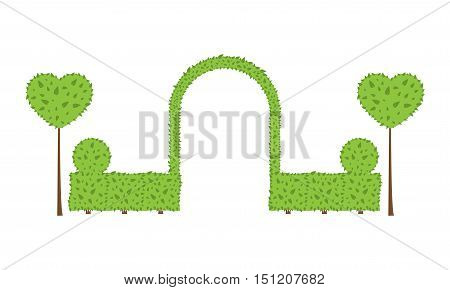 Topiary wedding arch. Different shape of bushes trees. Green and brown color. Fence circle heart shrub. Landscape design gardening park card invitation. Vector elements on white background.