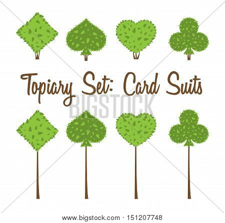 Topiary set of four vector playing cards suits shapes of bushes and trees: heart spade club diamond. Green and brown. Landscape design gardening park game. Vector shrub on white background.