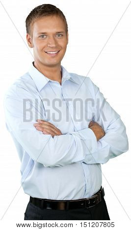 Professional looking man with his arms crossed wearing a button down shirt
