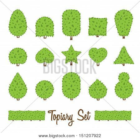 Topiary set. Different basic shape of bushes trees. Green multiform shrubs. Heart drop circle egg star shrub. Landscape design gardening park game. Simple forms. Vector bushes on white background.