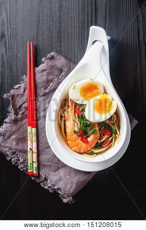 Miso Ramen Asian Noodles With Egg, Shrimp, Green Onions, Chili P