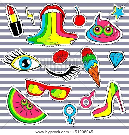 Fashion patch badges with lips, kiss, heart, star, ice cream, lipstick, eye, shit, rainbow. Vector background over stripes with cute stickers, pins, patches in cartoon 80s-90s comic style. Red yellow
