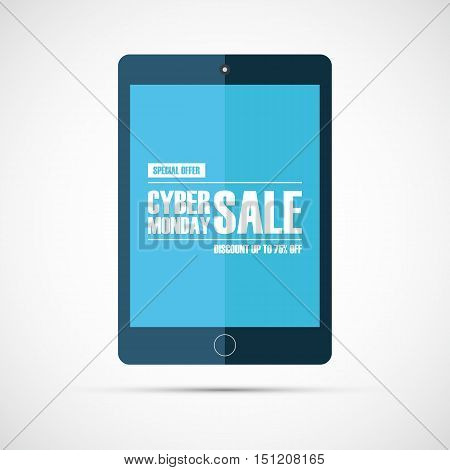 Cyber Monday Sale. Special offer, discount up to 75% off. Online shopping. Concept for business, promotion, advertising and e-commerce. Vector illustration.