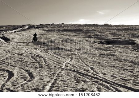 Man Ride Motorbike On Sand Hill, Adventure Journey