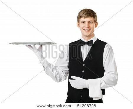 Young Handsome Waiter Holding Empty Tray