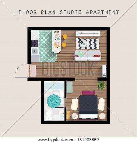 Detailed Apartment Furniture Overhead Top View. Studio Apartment With One Bedroom. Flat Style Vector