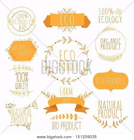 Collection of orange labels and badges for organic natural bio and eco friendly products. Vintage vectorgreen colors.