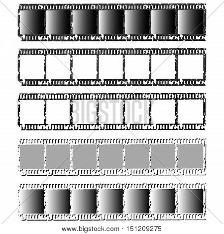 Isolated set of photographic filmstrips. Vector illustration