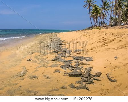 The wild and remote Playa Rincon near Las Galeras in Samana Peninsula. The spectacular Playa Rincon is located at the northeastern end of the Dominican Republic.