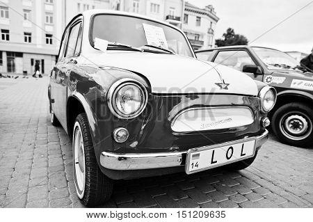 Tarnopol, Ukraine - October 09, 2016: Classic Retro Car Dual Color White & Red  Zaz Zaporozhets 965