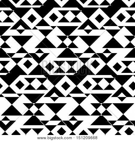 Aztec Essence tribal seamless pattern. Ethnic Navajo style - black ornament on a white background