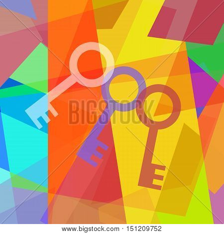 Three keys on abstract art colorful background
