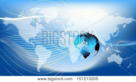 Blue earth technology, business and communications background. Blue earth globe over white world map in the background. Room for your text and logo. 3D rendering.