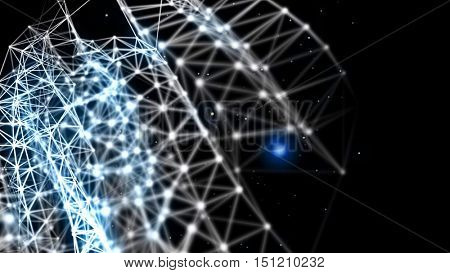 Blue plexus fantasy abstract technology and engineering background with depth of field settings. 3D rendering.