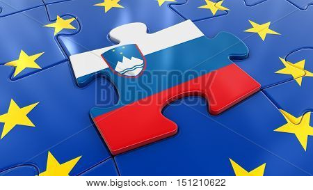 3D Illustration. Slovenia Jigsaw as part of EU