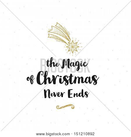Christmas greeting card - Calligraphy greeting and glitter gold Christmas star.