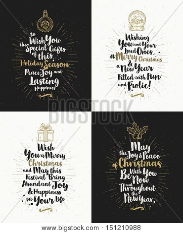 Set of Christmas greeting cards with calligraphic type design and Christmas symbols.