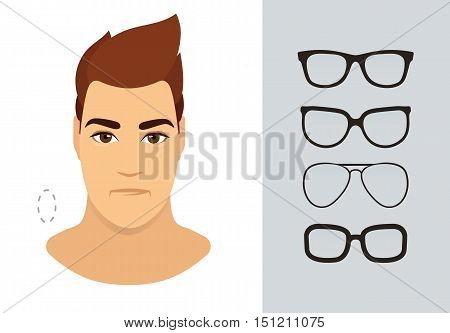 Man eyewear shapes for oblong man face type. Various forms of summer eyeglasses for oblong face. Fashion collection. Vector icon set.
