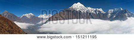 view of Mount Kangtega Thamserku Everest and Lhotse from Kongde - Sagarmatha national park - Nepal