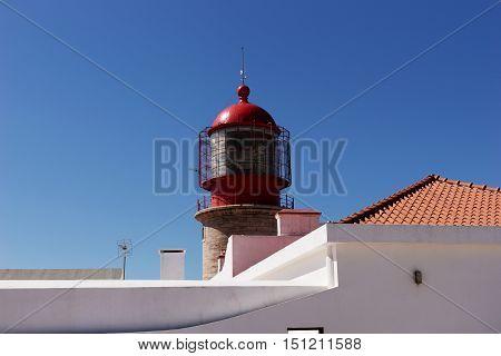 Close up of lighthouse at Sagres at Cabo de São Vicente