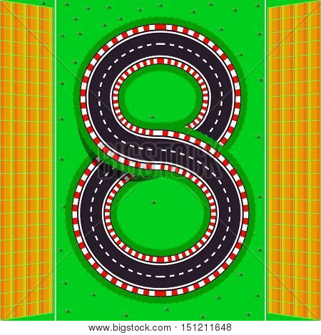 The number eight. The race tracks with stands for spectators