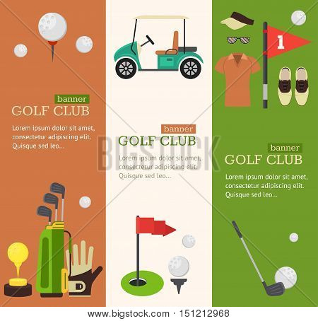 Golf Club Banner Vertical Set Flat Design Style. Vector illustration