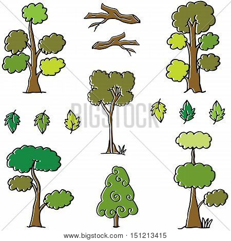 Vector of tree set different doodles illustration