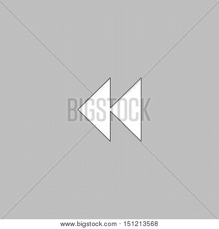 rewind  Simple line vector button. Thin line illustration icon. White outline symbol on grey background