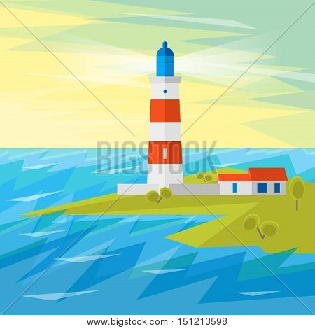 Lighthouse on Sea with Waves for Navigation. Flat Design Style. Vector illustration