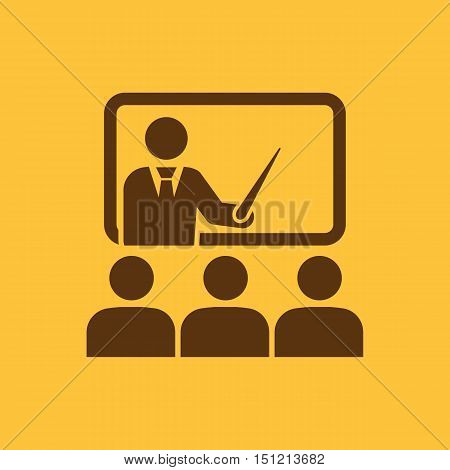 The training icon. Teacher and learner, classroom, presentation, conference, lesson, seminar, education symbol Flat Vector illustration