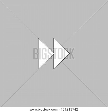 Fast forward Simple line vector button. Thin line illustration icon. White outline symbol on grey background