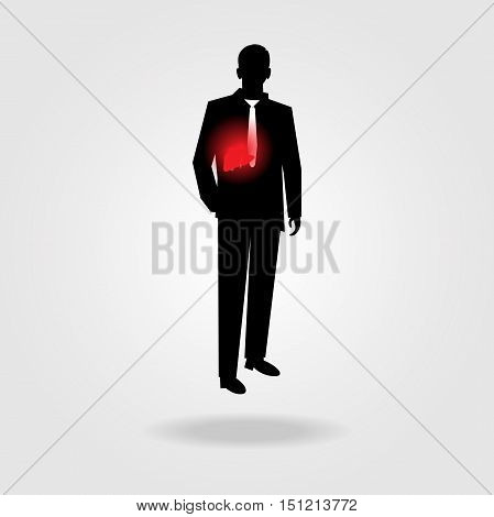 Vector Illustration of young business man having liver disease.