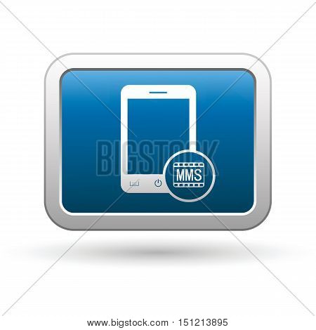 Phone with mms menu icon on the button. Vector illustration