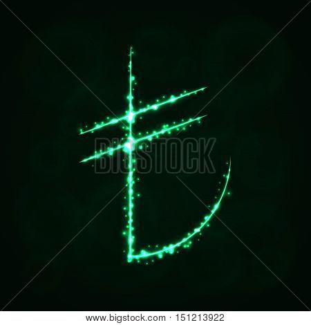 Lira Sign Illustration Icon, Lights Silhouette on Dark Background. Glowing Lines and Points